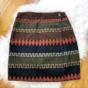 Vintage Aztec Print Wrap Mini Skirt